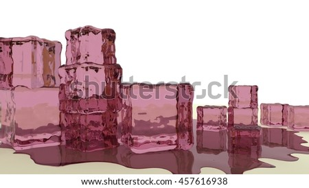 stack of purple jello cubes 3d render - stock photo