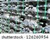 Stack of raw Aluminium Ingot & reflextion on outdoor warehouse - stock photo