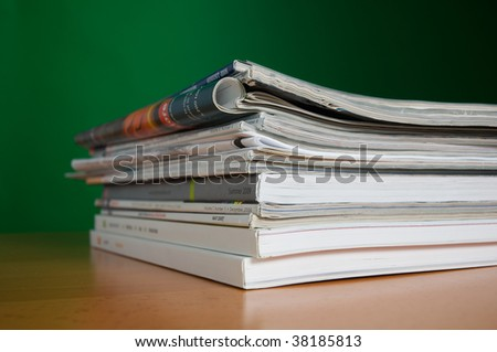 Stack of reading and research magazines, a fading way we find information today - stock photo