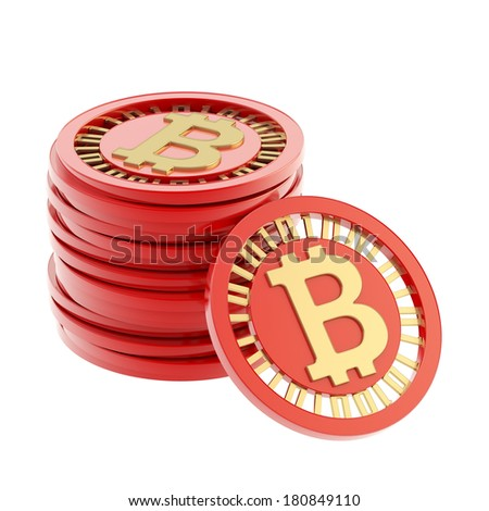 Stack of red and golden bitcoin peer-to-peer digital currency coins with a single coin next to it, isolated over white background - stock photo