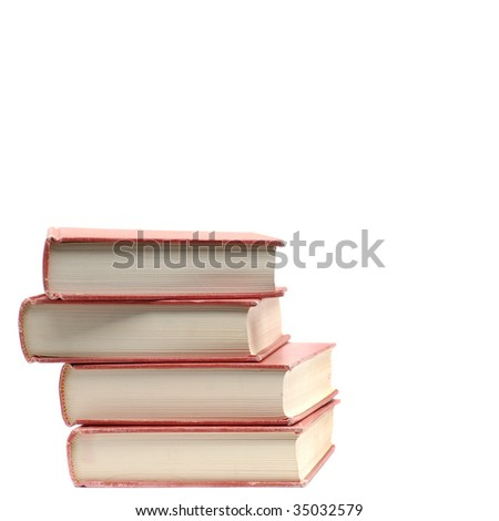 Stack of red books isolated on white background
