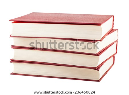 Stack of red cover books isolated on white background