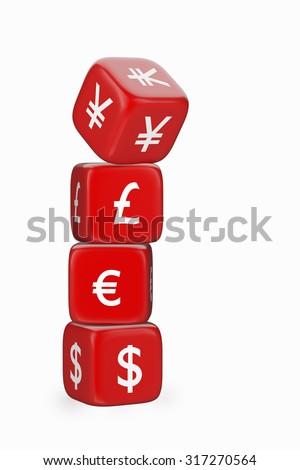 Stack of Red Dices with Currency Symbols. Dice with Yen / Yuan Symbol Falling Down - stock photo