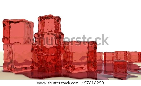 stack of red jello cubes 3d render - stock photo