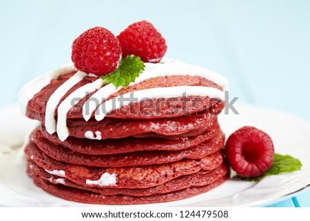 Stack of Red Velvet Pancakes with Raspbery - stock photo