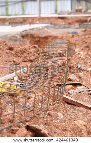 Stack of reinforcing bar mesh in a construction site - stock photo