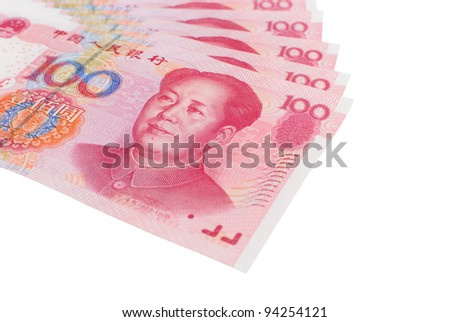 Stack of Renminbi (RMB) bank notes, 100 hundred dollar