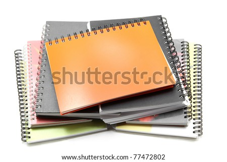 stack of ring binder book isolated on white - stock photo
