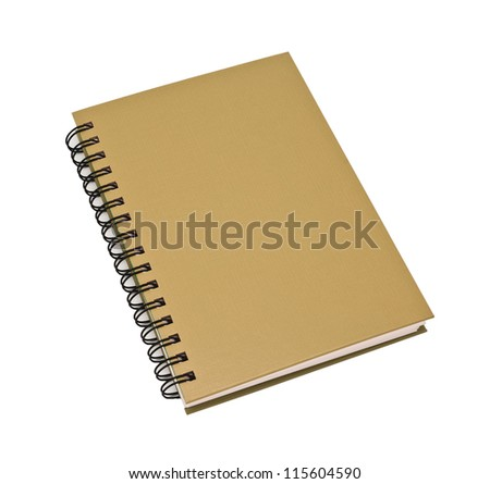 stack of ring binder book or brown notebook isolated on white background