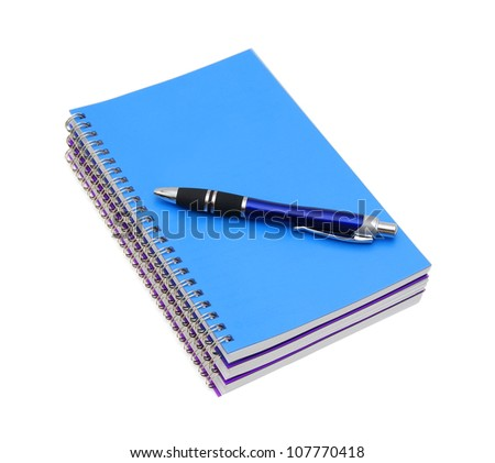 stack of ring binder book or notebook isolated on white background - stock photo