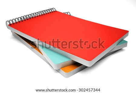 Stack of ring binder notebook isolated on white - stock photo