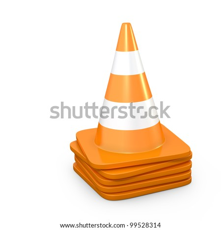 Stack of road cones, isolated on white background - stock photo