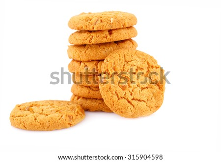 Stack of round cookies isolated on white background. - stock photo