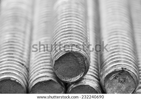 Stack of round steel bar - iron metal rail lines material for industry construction.  - stock photo
