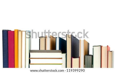 Stack of school books - stock photo