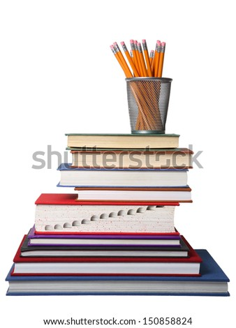 Stack of school books and pencils on white background  - stock photo