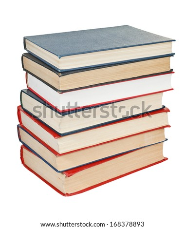 stack of several books isolated on white background
