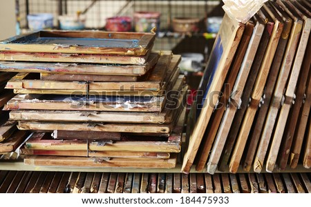 Stack of silk screen frame