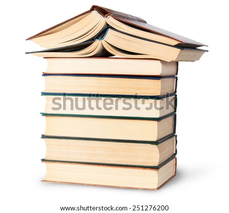 Stack of six old books with two open top rotated isolated on white background - stock photo