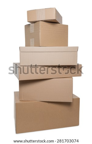 Stack of six parcels in different sizes isolated on white background