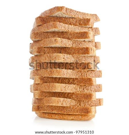 stack of sliced bread sandwich on a white background - stock photo