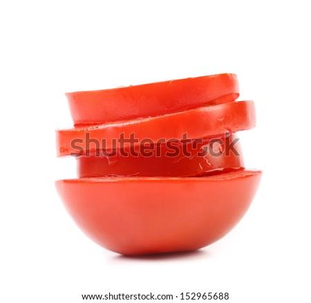 Stack of sliced tomato. - stock photo