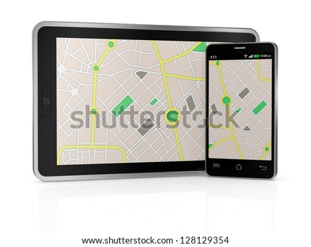stack of smartphones with gps map and a pointer (3d render)