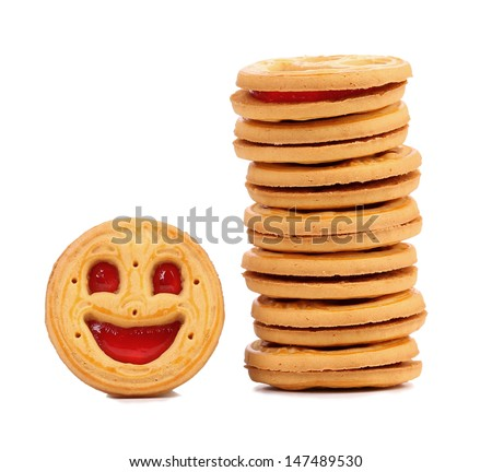 Stack of smile biscuits. - stock photo