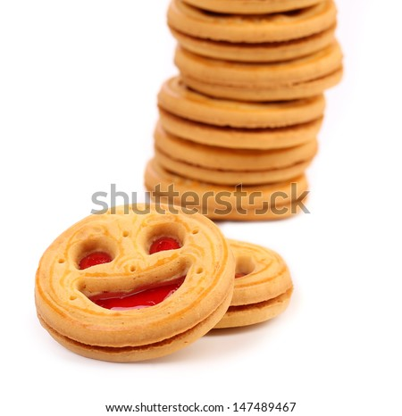 Stack of smile biscuits. Close up.