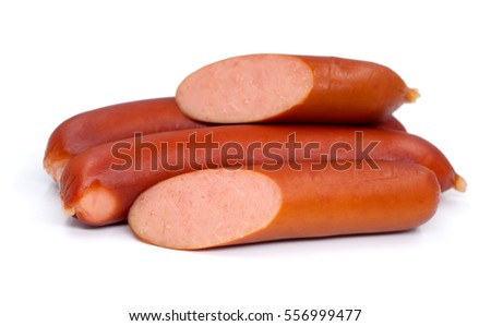 Stack of smoked sausages isolated on a white background