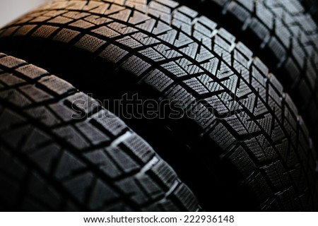 Stack of snow tires - stock photo