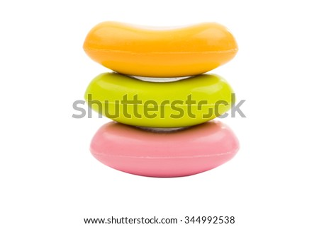 Stack of soap, isolated on white background
