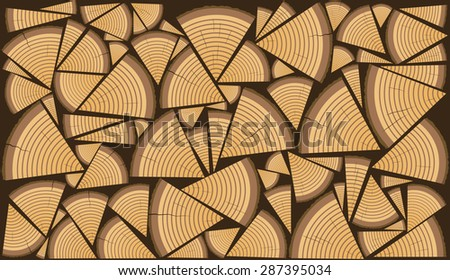 Stack of split firewood as a pattern - stock photo