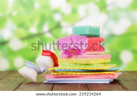Stack of sponges different kinds isolated on white background - stock photo