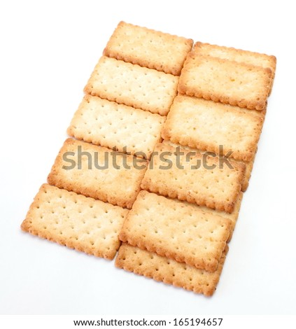 Stack of square crackers close-up