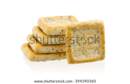 Stack of square crackers isolated on a white background - stock photo