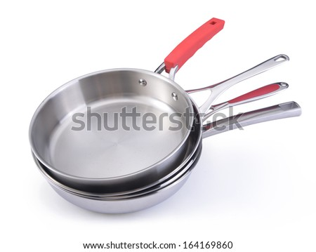 stack of stainless cooking pots  - stock photo
