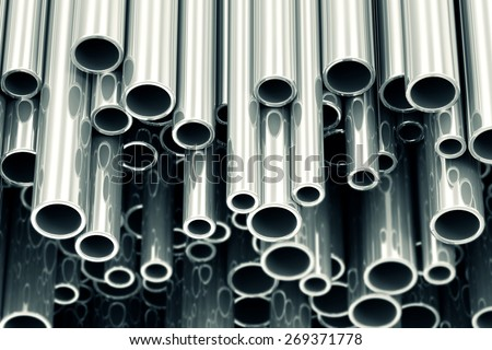 Stack of Steel Metal Tubes Abstract Industrial Background - stock photo