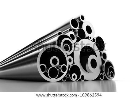 Stack of Steel Pipes (with clipping path) - stock photo