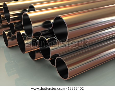 stack of steel tubing 3d - stock photo