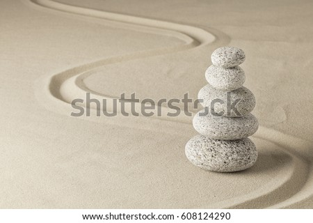 stack of stones in Japanese zn meditation garden.