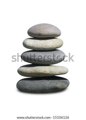 Stack of stones isolated on white background