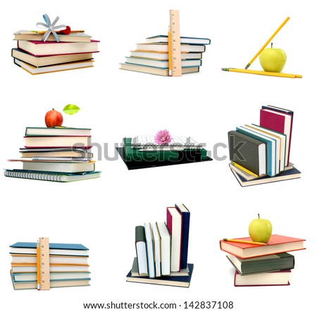 Stack of studying school books - stock photo