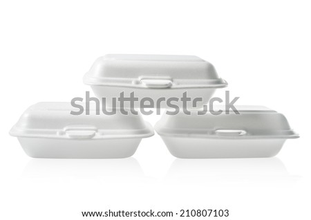 Stack of Styrofoam takeaway boxes on white background: Clipping path included