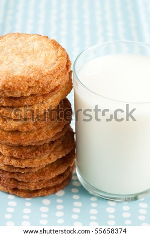 Stack of Sugar Cookies and Full Glass of Milk - stock photo