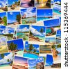 Stack of summer beach shots  - nature and travel background (my photos) - stock photo