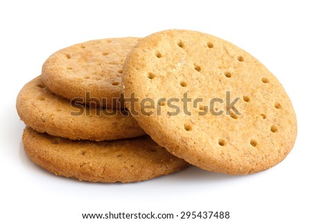 Stack of sweetmeal digestive biscuits isolated on white.