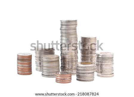 Stack of Thai Bath coins on white background - stock photo