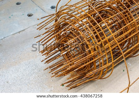 Stack of the metal rusty reinforcement bars - stock photo