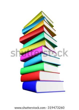 Stack of the multicolored books, isolated over white